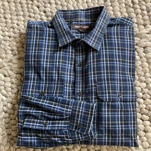 Michael Kors black/blue plaid shirt